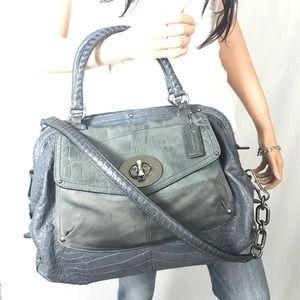 COACH $798 Blue Leather Sadie Croc Satchel #15271